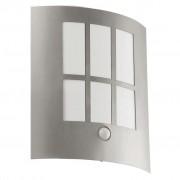 EGLO Utomhusvägglampa med LED-sensor City LED silver 94213