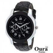 Oura Classic Analog Black Color Dial Round Casual Wear Leather watch