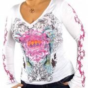 Top sexy blanc décolleté, sérigraphies tendance rose et noir