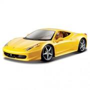 Bburago 18-26003 - Ferrari 458 Italia Modellino, Scala 1:24, Colori Assortiti: Rosso/Giallo