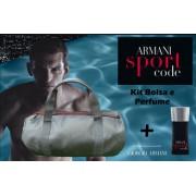 KIT Perfume Armani Sport Code 75ml + Bolsa Preta