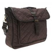 """Carry Case, Kangol Quilted Satchel Bag 15.6"""", полиестерна чанта с дръжки и презрамка, Кафяв (23551)"""