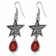 Fém fülbevaló - ötágú csillag cirkóniákkal és piros kővel