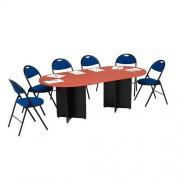 Ovalen modulaire tafel - Half ovaal - Kruisvoet