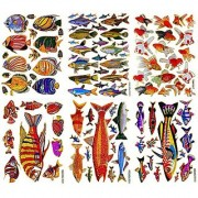 Fish004 - 6 Sheets of Scrapbook Stickers Fish Fish Scrapbook Stickers Farm Animal Stickers - Animal Scrapbook Stickers - Reflective Stickers - Animal Stickers for Kids - Size 4 X 5.25 Inch./sheet