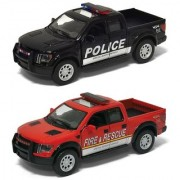 Playking Kinsmart Combo of 2013 Ford F150 SVT Raptor SuperCrew Pol and Fire Rescue 5'' Die Cast Pull Back Action Car