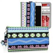 Kroo Posh Kick X511, Icon S510, Titan Max Hd E550, Ultra 5.0 Lte, Titan Hd, Revel Pro X510, Orion Pro X500 Case   Sky Blue Tribal Smartphone Wallet With Strap For Woman