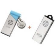 HP V215B+V220W 32 GB Pen Drive(Silver, Blue)