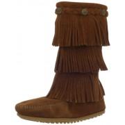 Minnetonka 3-Layer Fringe Boot Camoscio Stivalo Taglia, Marrone, 27 (9 UK)