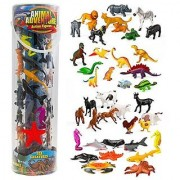 Giant Animal Action Figure Set - Big Bucket of Ocean Dinosaur Safari and Farm Animals - 40 Figures in All!