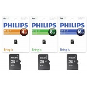 Card memorie Micro SDHC, cu adaptor SD, clasa 4, PHILIPS - 4GB