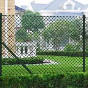 vidaXL Телена ограда, зелена, с колове и всички принадлежности, 0,8х25м.