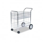 Wire Mail Cart, 21-1/2w X 37-1/2d X 39-1/4h, Chrome