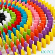 120pcs Wooden Dominos Blocks Set Kids Game Educational Play Toy Domino Racing Toy Game