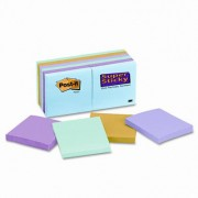 3M 65412Sst Super Sticky Pads 3 X 3 Five Tropical Colors 12 90-Sheet Pads Pack