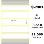 Zebra 8000D Jewelry - Etichette in polipropilene di colore bianco, formato 56 x 13 mm.