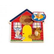 Hape Puzzle con pomelli la casa degli animali, legno