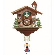 """ISDD Kuckulino Black Forest TU 2041 PQ - Reloj en miniatura con movimiento de cuarzo y llamada del cucú, diseño """"Casa de la selva negra"""" color nogal, flores pintadas a mano, batería incluida"""