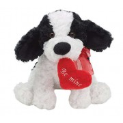 White and Black 15 Inch Dog Soft Toy with Red Be Mine Heart