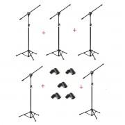 Kit com 05 Pedestais com Cachimbos para 01 Microfone - Vector