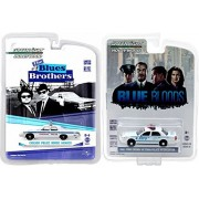 Blue Police Car set Blue Bloods / Blues Brothers Greenlight Hollywood Ford Crown Victoria Interceptor & Dodge Monaco