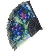DCS Foldable Floral Print Black, Blue, Pink, White, Yellow Hand Fan(Pack of 1)