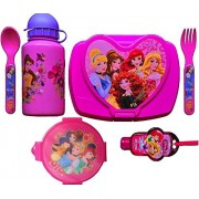 Disney Princesses 6 Piece Back to School Girls Lunch Kit Includes Princess Water Bottle