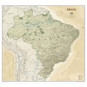 Wandkaart Brazil - Brazillië Antiek, 104 x 97 cm | National Geographic