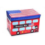 Folding Toy Storage Chest Double Decker Tour Bus