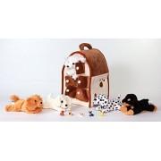"Unipak 12"" Plush Dog House Carrying Case with Five (5) Stuffed Animal Dogs (Dalmatian, Yellow Labrador Retriever, Rottweiler, Poodle, and Cocker Spaniel) + Free Bonus Five Mini Puppy Figures by Unipak"