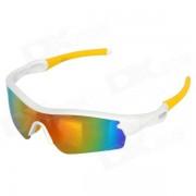 Oreka Motorcycle Riding WG010 exterior lente PC TR90 gafas de marco gafas - Blanco + Amarillo