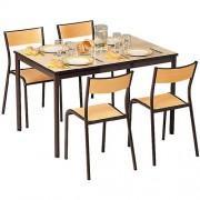 Set van stoelen en rechthoekige tafel - Gelaagd tafelblad - 4 plaatsen