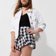 River Island Womens Petite Black gingham check frill shorts