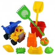 2-in-1 Beach Dump Truck with Sand Castle Mold Builder Bucket Toy Set (10 Pcs)