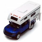 2013 Ford F-150 SVT Raptor SuperCrew Pickup w/ Camper Blue - Kinsmart 5502D - 1/46 scale Diecast Model Toy Car