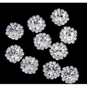 Phenovo Crystal Rhinestone Button Flatback Decoration DIY 15mm 10pcs Clear