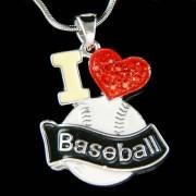 Swarovski Crystal I Love Baseball Softball Mom Red Heart Necklace New