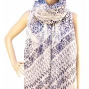 RAYFLECTOR Dámský šátek bílý s modrým vzorem