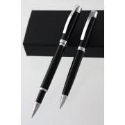 Juego de bolígrafo y roller en color negro y plata