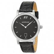 Montblanc Star Classique Black Dial Black Leather Mens Watch 108769