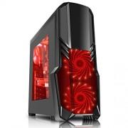 CiT G Force - Alloggiamento per PC da gioco, con ventola a 15 LED rossa frontale, colore: nero