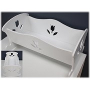 """18 Inch Doll Furniture Wooden Doll Rocking Cradle (Crib) - (18"""" White Floral) Fits American Girl Dolls"""