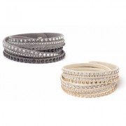 One- or Two-Piece Austrian Crystal Wrap Bracelets: Gray-Beige/2-Pieces Crystals