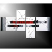 4 Quadri Moderni Toni del Rosso Grigio e Bianco