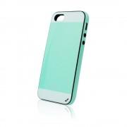 Калъф силиконов Fashion Style с кожен гръб за IPhone 5s зелен-бял