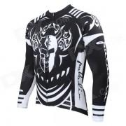 Hombres Impreso de manga larga ciclismo Jersey con cremallera - Blanco + Negro (S)