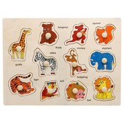 VolksRose® 11 Pcs Wooden Matching Pegged Puzzles - Animal - Creative Wood Educational Shape and Color Puzzle - Perfect Christmas Gift for Your Kids