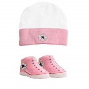 Converse - All Star Infant Hat&Booties, 0-6 luni, Alb/Roz