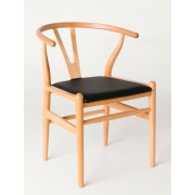 """Replica Hans Wegner """"CH24"""" Wishbone Chair - Natural Frame with Leather seat - Beech Timber"""