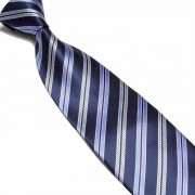 """Dark Blue/Light Purple/Silver Pattern Striped Microfibre Tie"""